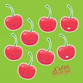Sweet cherries with different emotions  — Stock Vector
