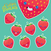 Cartoon strawberry with different emotions — Stock Vector