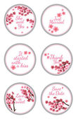 Candy Sticker Labels with sakura — Stock Vector