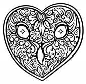 Owl heart shaped head — Stock Vector
