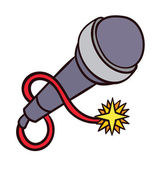 Retro microphone with a burning fuse — Stock Vector