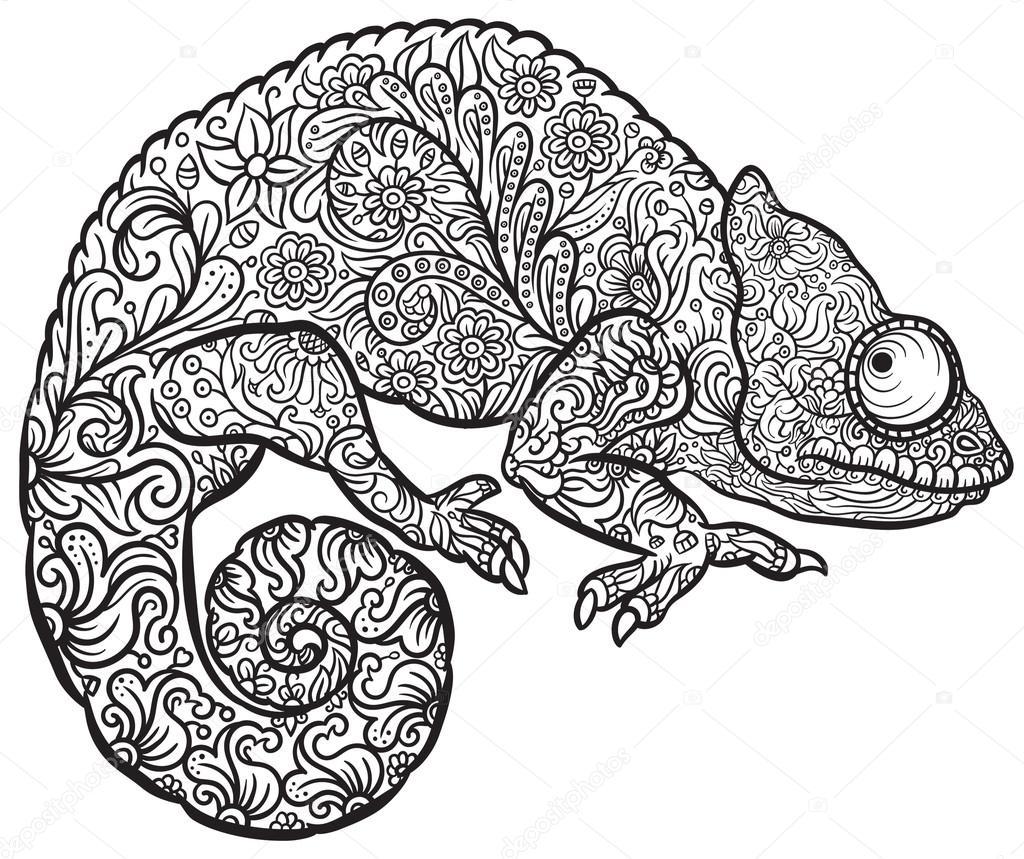Zentangle Stilisiert Multi Farbige Chameleon Stockvektor