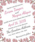 Wedding card with gentle sakura flowers — Stock Vector