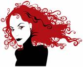 Gothic girl with red hair — Stock Vector