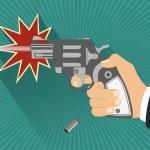 Bullet revolver gun with hand — Stock Vector #62285773