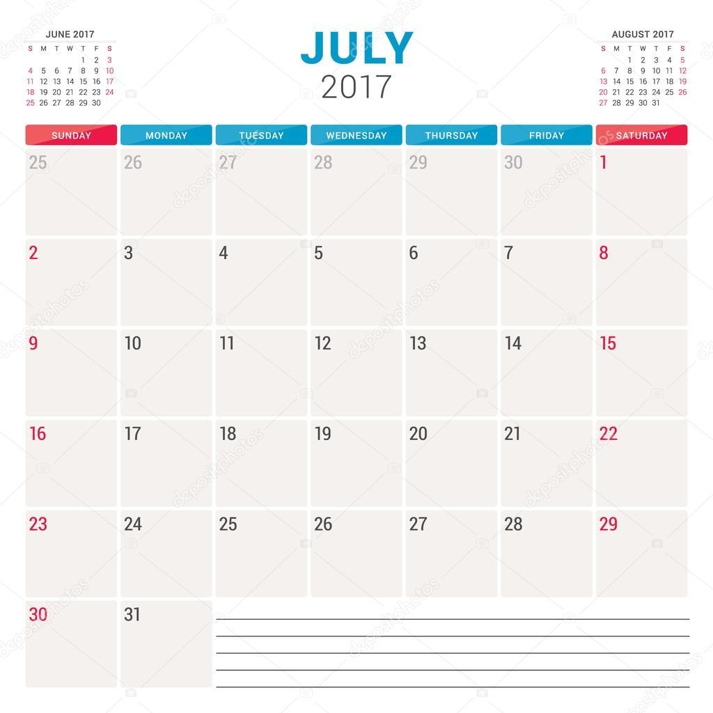 Kalender Planer für 2017 Jahr