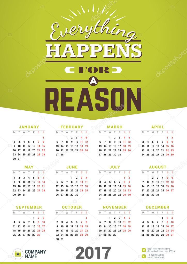 2017 calendar poster template