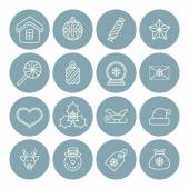 Line christmas icons for web and applications — Stockvector