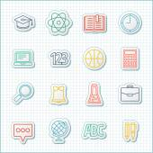 School and education flat design icons set — Stock Vector
