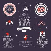 Christmas decoration set of calligraphic and typographic design elements, labels, symbols, icons, objects and holidays wishes — Stock Vector