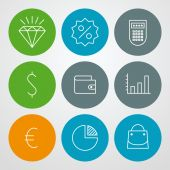 Vector line icons set. For web site design and mobile apps — Vector de stock