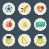 School and education icons flat design vector set  — Stock Vector