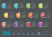 Calendar 2015 vector template week starts sunday — Stock Vector