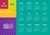 Calendar 2015 vector template week starts sunday — Vector de stock