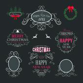 Navidad decoración conjunto de elementos de diseño tipográfico y caligráficos, etiquetas, símbolos, iconos, objetos y deseos de vacaciones — Vector de stock