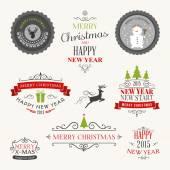 圣诞装饰集书法和排版的设计元素、 标签、 符号、 图标、 对象和节日的祝福 — 图库矢量图片