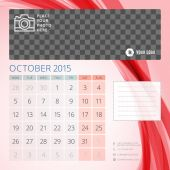 Calendar 2015 October template with place for photo — Stock Vector