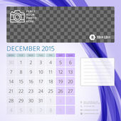 Calendar 2015 December template with place for photo — Stock Vector