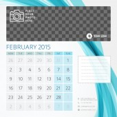 Calendar 2015 February template with place for photo — Stock Vector