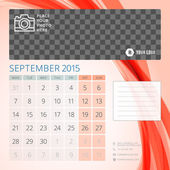 Calendar 2015 September template with place for photo — Vecteur