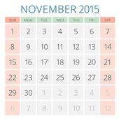 Calendar 2015 November vector design template — Vecteur