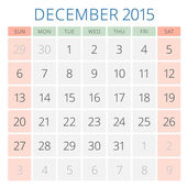 Calendar 2015 December vector design template — Vecteur