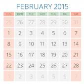 Calendar 2015 February vector design template — Vecteur