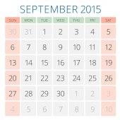 Calendar 2015 September vector design template — Vecteur