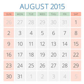 Kalender 2015 august Vektor-Design-Vorlage — Stockvektor