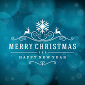 Merry Christmas message and light background with snowflakes. Vector illustration Eps 10. — Stock Vector