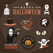 Set of halloween party decoration design elements. Vector illustration. — Stock Vector