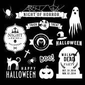 Set of halloween party decoration design elements. Vector illustration.  — Stock Vector