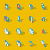 Colorful vector isometric flat design icon set — Stock Vector