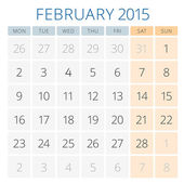 Calendar 2015 February vector design template — Stock Vector