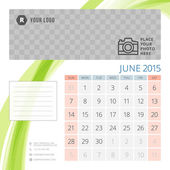 Calendar 2015 June template with place for photo. Week starts sunday — Cтоковый вектор