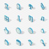 Conjunto de ícones de design plano isométrico vector luz — Vetor de Stock