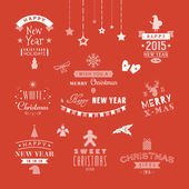 Christmas decoration set of design elements, labels, symbols, icons, objects and holidays wishes — Stok Vektör