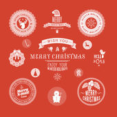 Christmas decoration set of design elements, labels, symbols, icons, objects and holidays wishes — Stock Vector