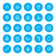 Thin line Christmas icons set for web and mobile apps. White and blue colors flat design. Christmas tree, gift, santa, snowman, sale, snowflake — Stock Vector #58283147