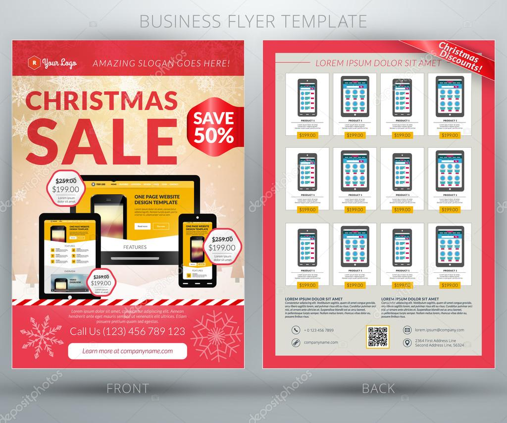 vector business flyer template for mobile application or online vector business flyer template for mobile application or online shop christmas stock