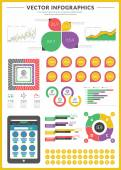 Big pack of data visualization vector infographics and design elements with business bar, charts, graph, diagrams and icon set for brochures, flyers and websites — Wektor stockowy