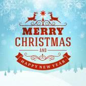 メリー クリスマス メッセージと雪と明るい背景。ベクトル イラスト eps 10. — ストックベクタ