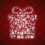 Vintage christmas greeting card, icons and symbols, christmas tree, snowflakes, gift box, santa elements vector background — Stock Vector #58890971
