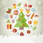 Vintage christmas greeting card, icons and symbols, christmas tree, snowflakes, gift box, santa elements vector background — Stock Vector #58891005