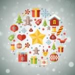 Vintage christmas greeting card, icons and symbols, christmas tree, snowflakes, gift box, santa elements vector background — Stock Vector #58891035