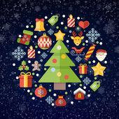 Vintage christmas greeting card, icons and symbols, christmas tree, snowflakes, gift box, santa elements vector background — 图库矢量图片