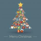 Christmas greeting card, icons and symbols, christmas tree, snowflakes, gift box, santa elements vector background — Stock Vector
