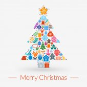 Christmas greeting card, icons and symbols, christmas tree, snowflakes, gift box, santa elements vector background — Vetor de Stock