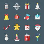 Christmas icons in flat design style for web and applications. Snowflake, Santa, Bell, Gift box, Calendar, Tree — Stock Vector