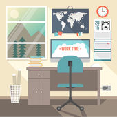 Flat design vector illustration concept of modern home or business work space — Stock Vector